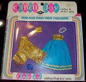 Gold metallic & blue gown set