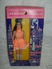Brunette in peach dress NRFB