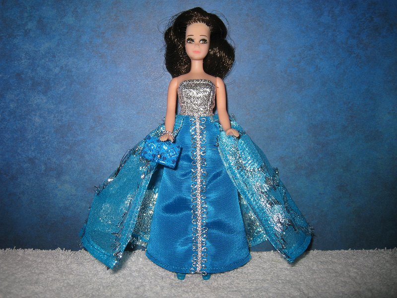 Blue and Silver Split Skirt Gown