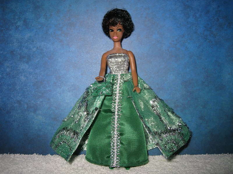Emerald and Silver Split Gown