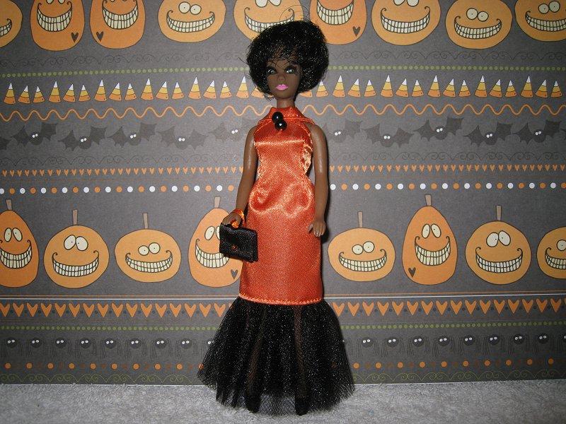 Orange Satin & Tulle skirt slim gown