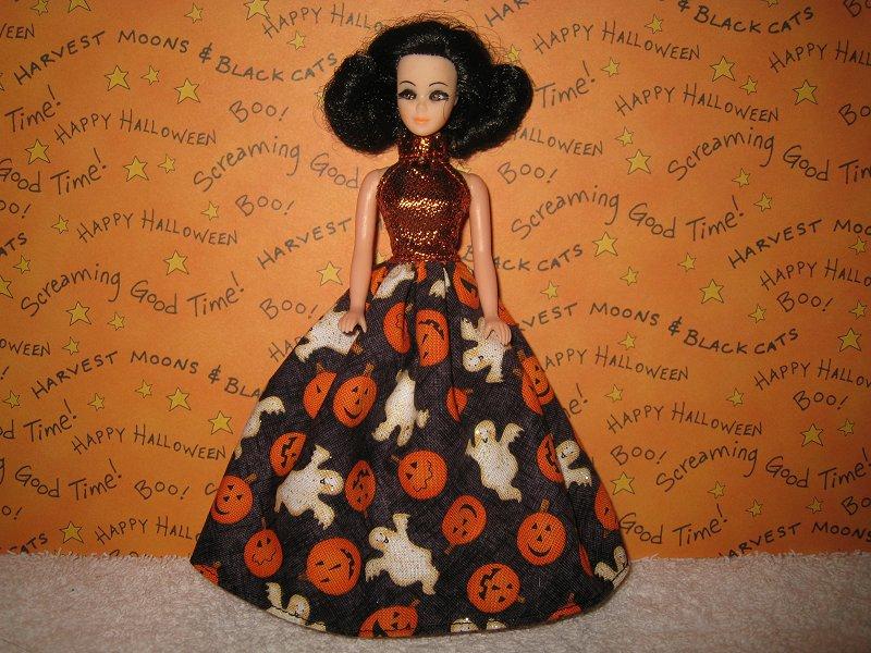 Pumpkins Ghosts Halter Ballgown
