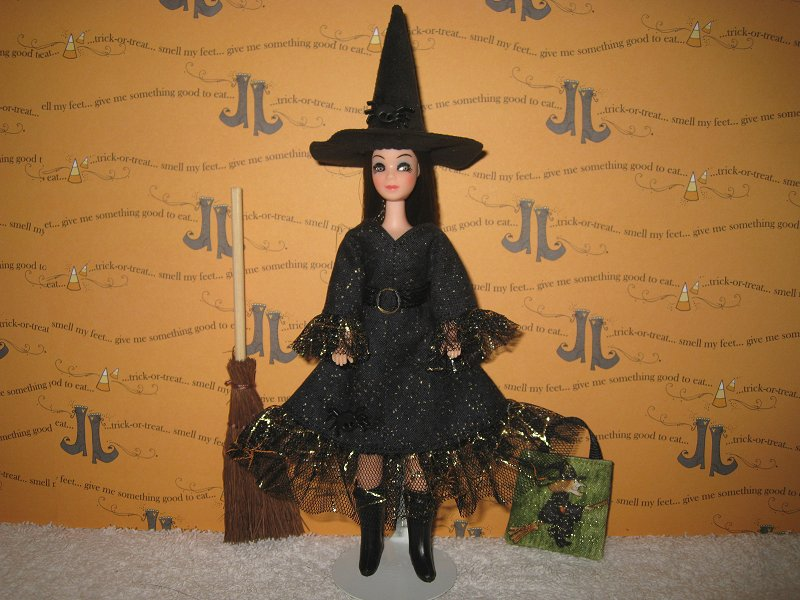 Witch Dress with broom & bag