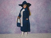 Blue Long N Leather with purse, hat, scarf