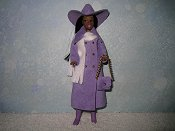 Lavender with hat, purse, & white scarf