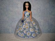 Blue Large Daisy Gown with purse