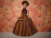 Autumn Stripes Halter Gown
