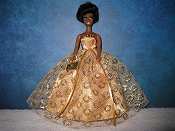 Gold Lace Ballgown strapless