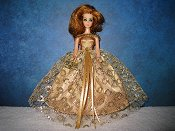 Gold Lace Ballgown with trim straps