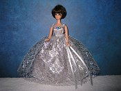 Silver Ballgown with over shoulder straps