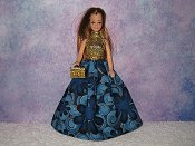 BLUE FLOWER POWER gown with purse