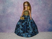 BLUE FLOWER POWER strapless gown with purse