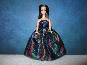 Blue Stripe Eyelash Gown