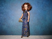 Blue & gold gown with purse (Connie)