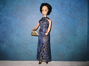 Blue & Gold gown with purse (Kip) dancing doll fit