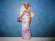 Lavender brocade gown with purse (Britt)