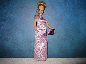 Lavender brocade gown with purse (Dawn)
