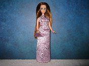 Lavender brocade gown with purse (Longlocks)