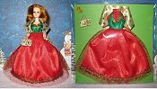 Red Green & Gold Christmas Ballgown with wrap