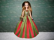 Christmas Striped Splendor Gown with purse PREORDER
