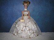 Cream and Gold Glitter ballgown
