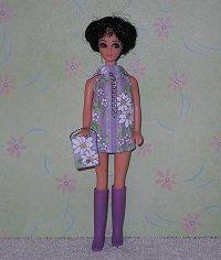 Daisy Purple Stripe Dancing mini with purse