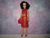 Diamond Dark Pink gold dress with belt & purse