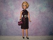 Diamond Fuchsia Black dress with belt & purse
