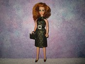 Diamond Silver Black dress with belt & purse