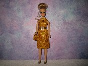Diamond Gold Dress with belt & purse