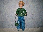 Diamond Green Blue silver pantset with purse