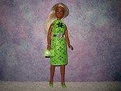 Diamond Lime Dress with belt & purse