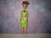 Diamond Neon Green Dress with belt & purse