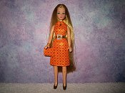 Diamond Orange Dress with belt & purse