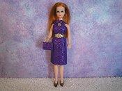 Diamond Purple Dress with belt & purse