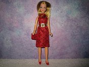 Diamond Red dress with belt & purse