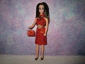 Diamond Red Gold Dress with belt & purse