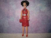 Diamond Red Silver Dress with belt purse