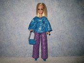 Diamond Blue Silver Purple Pantset with purse
