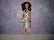 Diamond White Silver belt Dress with purse