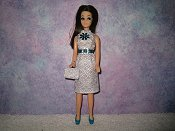 Diamond White Silver Turquoise Dress with purse