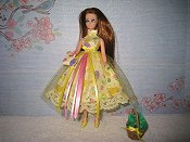 Yellow Tulle Dress with purse & basket