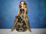 Elegance Black Velvet gown with purse