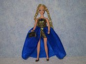 Euro gown in blue & gold with purse