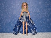 Euro Blue with White Snowflakes gown & purse