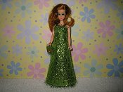 Glimmering Stardust style gown with purse