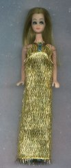 Gold Eyelash Gown--teal beads