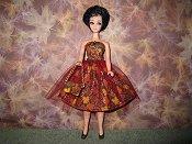 Burgundy Leaves Tulle Dress