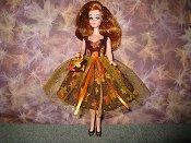 Gold & Orange Leaves Tulle Dress