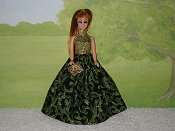 GREEN & BLACK gown with purse